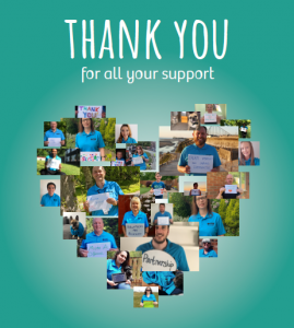 Front page of the Our Lancashire thank you booklet. Montage of staff holding thank yous in the shape of a heart