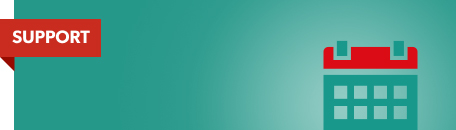Teal banner with calendar icon