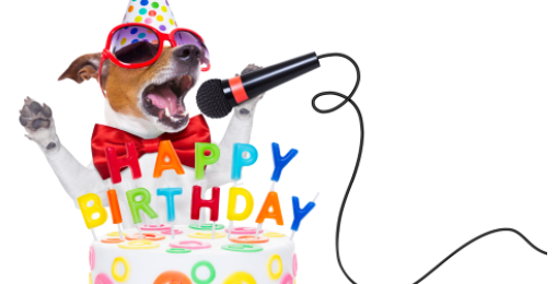 Birthday cake celebrating the one year birthday of Our Lancashire with a little dog in a birthday cake holding a microphone
