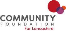 red and black Community Foundation in Lancashire logo